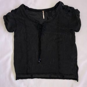 Free People Charcoal Black Gray Crochet XS Lace Up