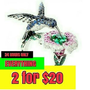 Jewelry - 🌹 NEW hummingbird Floral Ring 925 Silver Size 6