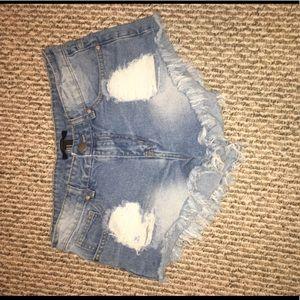 Vintage vibe distressed jean shorts
