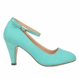 Women's Mint Vintage Ankle Strap Pump Shoes