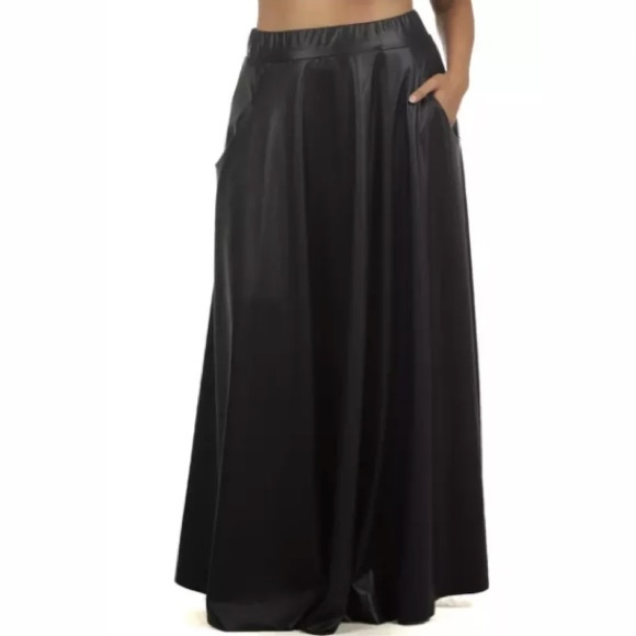 5e1c6f22ec Black Faux Leather High Waist Maxi Skirt