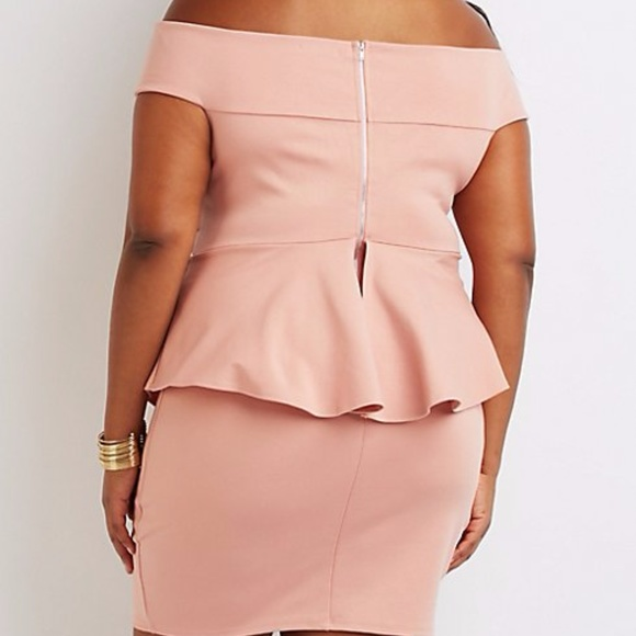 Charlotte Russe Dresses - Plus Size Off Shoulder Peplum Dress