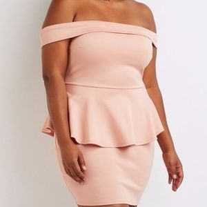 Plus Size Off Shoulder Peplum Dress