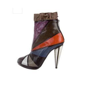 Rodarte | Embossed Metallic Leather Ankle Bootie