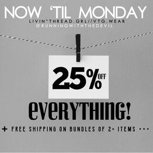 🏷 SALE! Now until MONDAY! 25% off ENTIRE STORE!