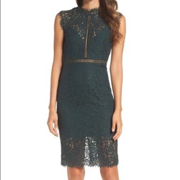 f0c60c41273d Bardot Dresses | Nwt Lace Sheath Mockneck Dress In Forest | Poshmark