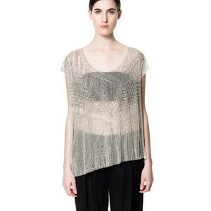 Beautiful Zara sheer beaded shirt