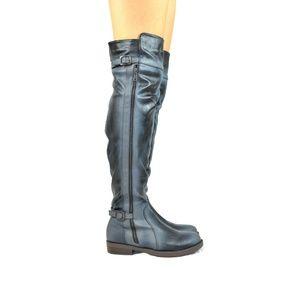 Women's Black Stacked Heel Knee High Boot