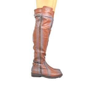 Women's Cognac Stacked Heel Knee High Boot