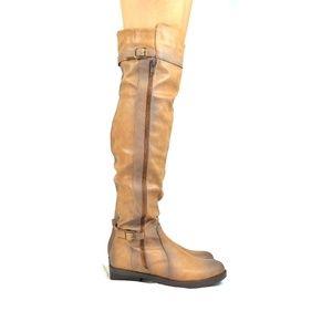 Women's Taupe Stacked Heel Knee High Boot