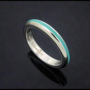 Tiffany & Co. Sterling 3mm Band w Enamel Inlay sz5
