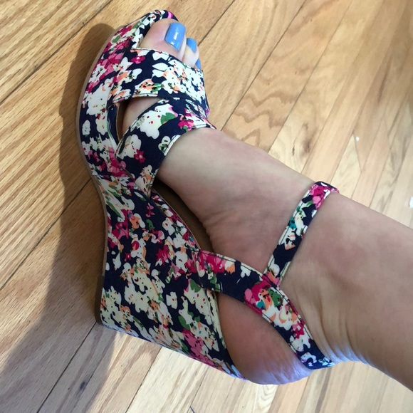 Abound Shoes Floral Wedges Poshmark