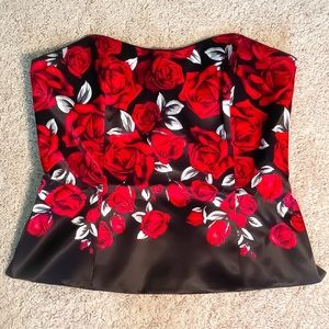 ❤️WHBM Bustier Black with red roses❤️🌹🌹