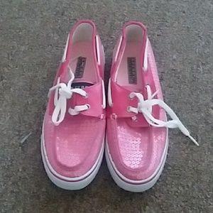 Pink Sequin Sperrys
