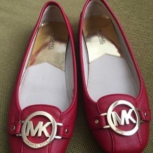 Michael Kors red flat shoes