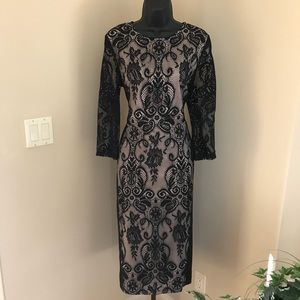 Black and Tan lace dress sheer lace 3/4 sleeves.