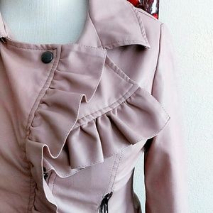 Rose Pink Leather Faux Moto Jacket