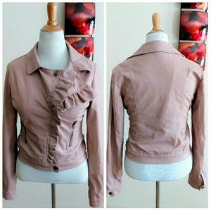 Rue 21 Jackets & Coats - Rose Pink Leather Faux Moto Jacket