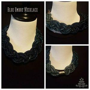 Blue Ombre Mesh Statement Necklace