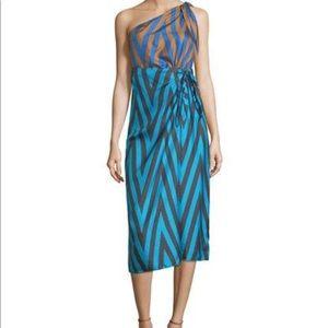 NWT DVF One Shoulder Knot Scarf Dress Sz 6🌺
