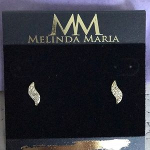 Melinda Maria earrings. Gold with pavè crystals.