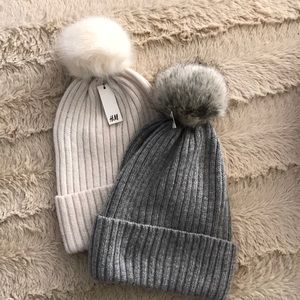 H&M Pom beanies in grey and ivory