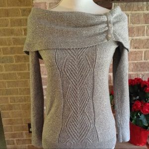 WHBM Shimmering Silver Sweater Sz M
