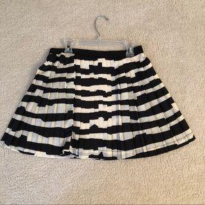 Nordstrom black and white pleated skater skirt