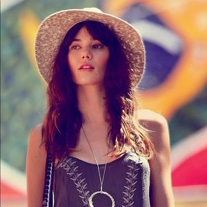 Free People Solid Straw Floppy Boho Hat