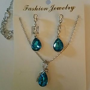 Sapphire Silver plated Necklace and Earring Set