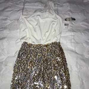 Gold/Silver sequin one-shoulder mini skirt- small