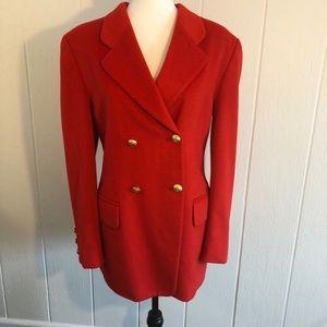 Vintage Escada Wool Blazer Red Gold Buttons