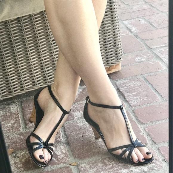 08bccb33e63f PRADA black WEDGE low heels patent LEATHER sandals.  M 5a187a233c6f9fb3b507c727