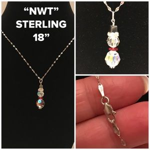 NWT Sterling Silver Crystal Snowman