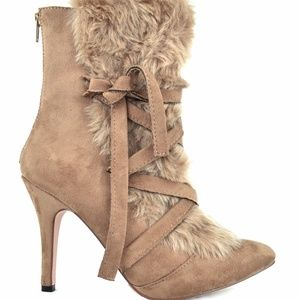 Taupe Lace-Up Furry Women's Slim Heeled Bootie