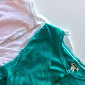 {Old Navy} Teal and White cardigans