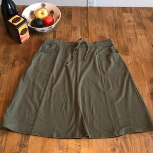 J Jill Size Med Army Green Knit Drawstring Skirt