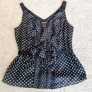 ❤️WHBM Black & White halter top w ruffles & belt❤️
