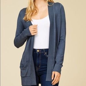 Boutique Open Front Cardigan in Cement Color