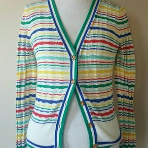 JUICY COUTURE RAINBOW STRIPED BUTTON DOWN SWEATER