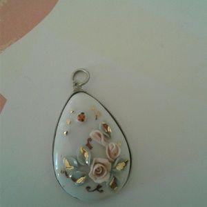 Porcelain Rose Pendant