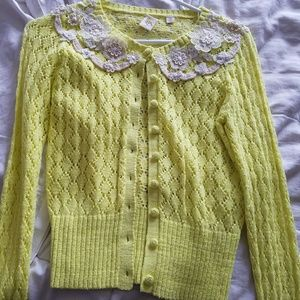 Anthropologie yellow and cream lace knit sweater