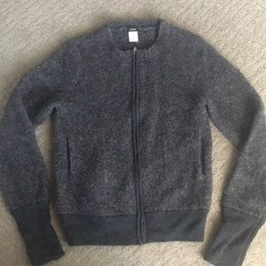 Jcrew Dark Grey Zip Up Sweater Size: M