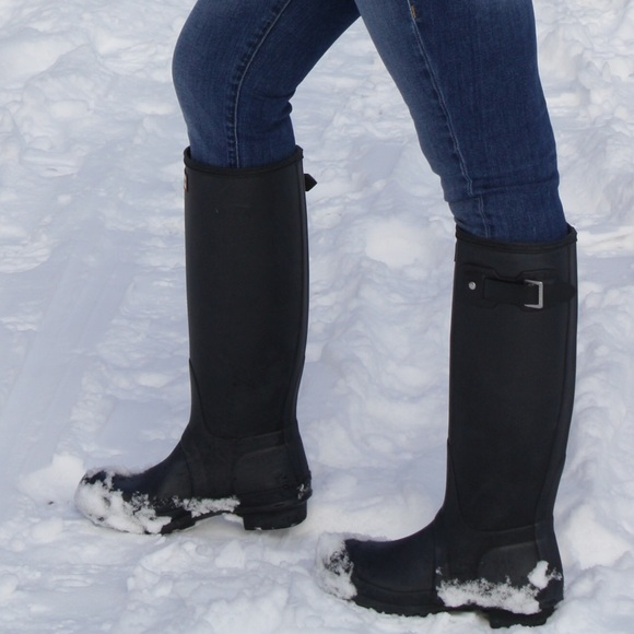 hunter boots shoes barely worn size 65 black matte