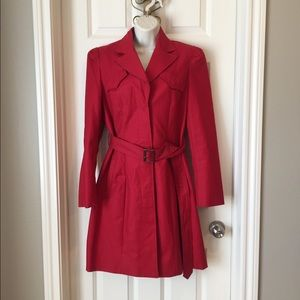 Kenneth Cole Red belted trench coat size m