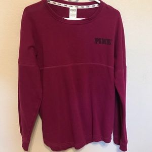 Victoria's Secret Pink lone sleeve maroon sweater