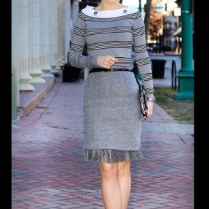 Gray, striped, boat necked sweater