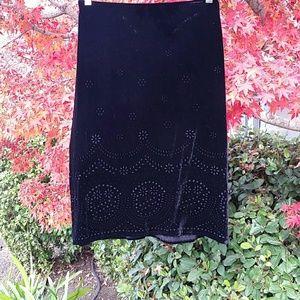 The Limited Silk black velvet skirt
