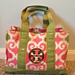 Tory Burch tote pink green