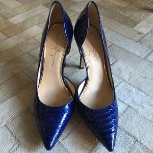 Jessica Simpson blue reptile d'orsay pumps